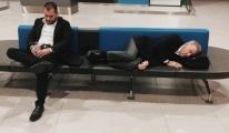 Ağaoğlu havalimanında bankta uyudu