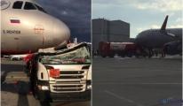 Akaryakıt kamyonu,havaalanında uçağa çarptı (video)