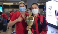 Balkan Kupası'nda şampiyon olan THY yurda döndü(video)