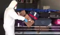 Ercan Havalimanı'nda 7/24 ilaçlama#video