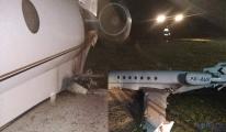 Gulfstream G200 tipi iş jeti pistten çıktı!