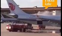 Havalimanı'nda Uçağın kargo bölümünde çıkan yangın