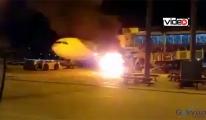 Havalimanı'nda yer hizmetleri araçı yandı!video