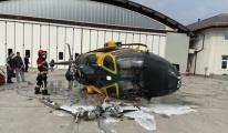 Helikopter kalkış esnasında kaza yaptı