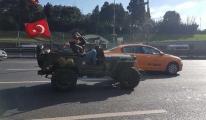 İstanbul'da D-100 trafiğinde uçaksavar taşıyan cip!