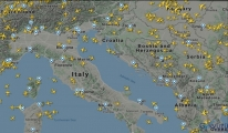 İtalya hava sahasındaki uçak trafiğindeki
