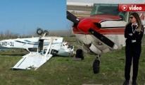 Kadın Pilot'un Kullandığı Uçak Takla Attı!
