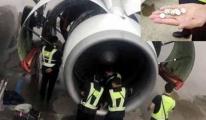 Kadın Yolcu Uçak Motoruna Dilek Parası Attı