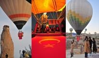 Kapadokya'da balonlar, Türk bayrakları ile havalandı