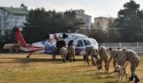 Köpeklere helikoptere inme-binme eğitimi