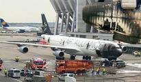 Lufthansa uçağının apronda burnu yandı!