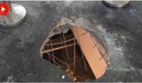 Havalimanında Patlamanın Şiddetiyle Beton Delindi