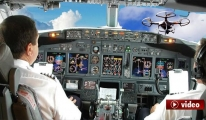 Pilot havada 'drone'la karşılaşınca... video