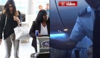 Pilot ünlü modeli uçaktan indirdi! video