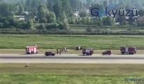 Samsun'da tek motorlu uçak, gövdesi üzerine indi(video)