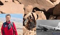 Süphan Dağı'nın zirvesinde, düşen uçağa ait parçalar