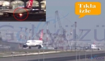 video Taksi yollarında iniş takımlarında yangın olağandır!