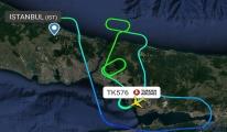 Türk Hava Yolları'na ait TK576 uçak havada tur atıyor