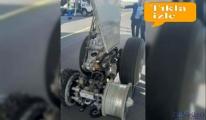 Uçağın pistteki  kasis lastiklerini parçalandı!
