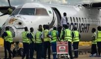 Uçak Havalimanı'na son yaklaşmada doluya girdi