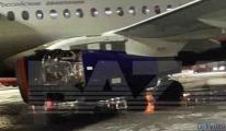Uçak kalkışta motor kapağını kaybetti.