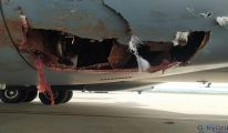 Uçak kuş sürüsü çarptı gövde kısmı parçalandı