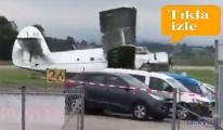 Uçak, sol kanadının üzerinde sürüklendi
