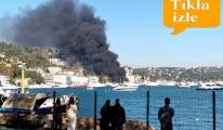 video Bebek Koyu'nda bir teknede  yangın çıktı