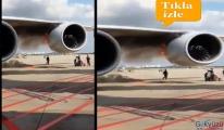 video Havalimanı'nda uçağın motoru tutuştu