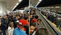 İstanbul'da metro istasyonlarında izdiham