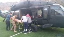 Yaralanan dağcı, askeri helikopterle kurtarıldı