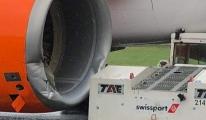 Yer hizmetleri aracı uçak motoruna çarptı!