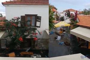 Seferihisar'da depremin ardından deniz taştı!(video)