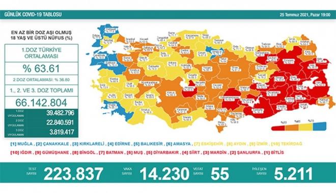 25 Temmuz koronavirüs salgınında günlük vaka sayısı 14 bin 230 oldu