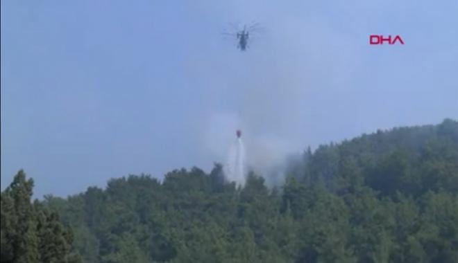 Askeri helikopterler yangında ilk kez görev aldı#video