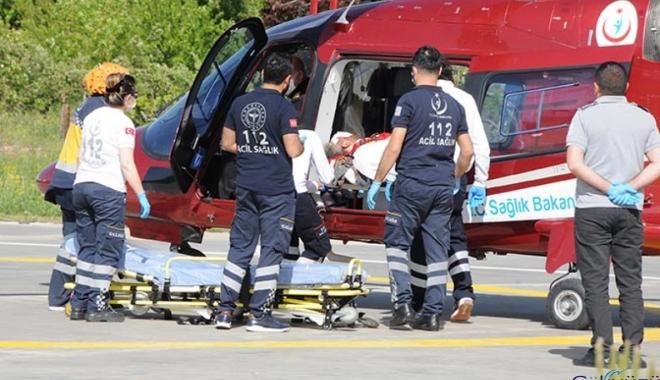 Elinde dinamit patlayan işçi ambulans helikopterle sevk