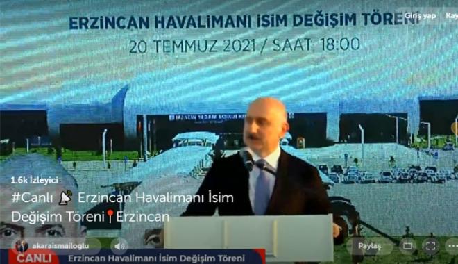 Erzincan Havalimanı'nın adı resmi olarak değiştirildi