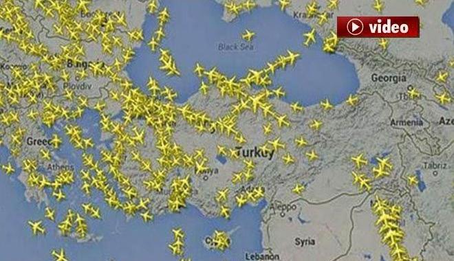 Gökyüzünde ki İnanılmaz Uçak Trafiği