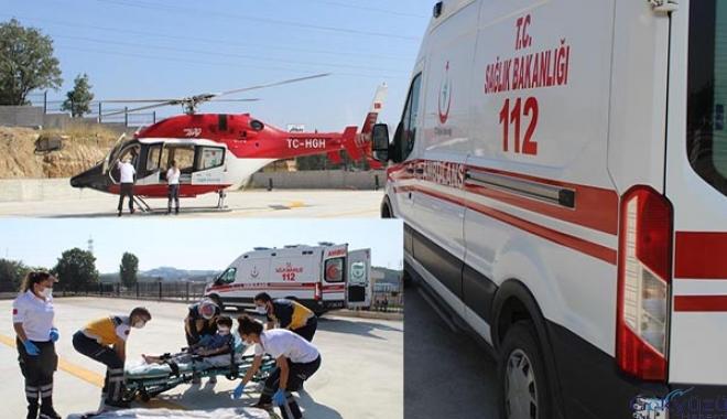 Yaralanan çocuk, helikopter ambulansla sevk edildi
