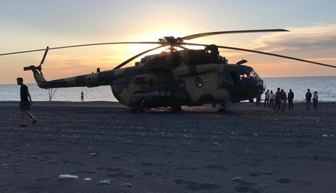 Helikopter Giresun'da sahile zorunlu iniş gerçekleştirdi