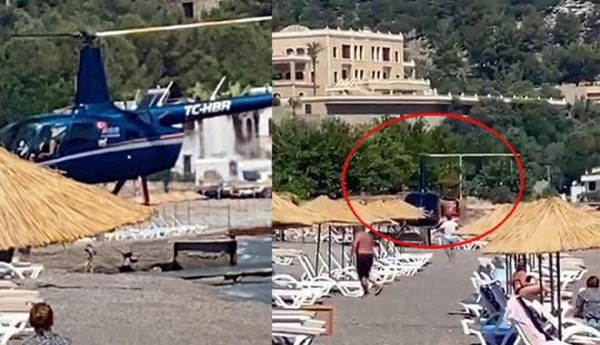 Helikopterle plaja geldiler#video
