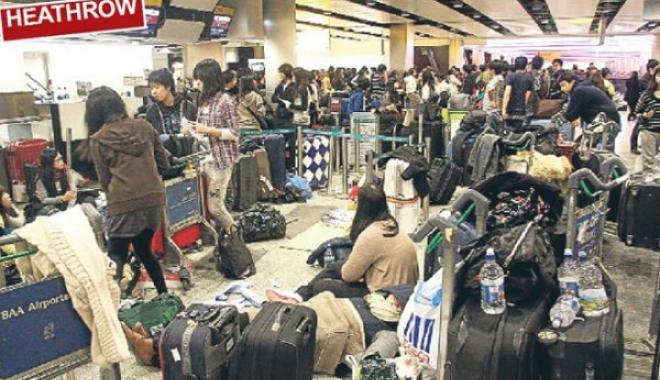 Londra  Heathrow Havalimanı Dökülüyor