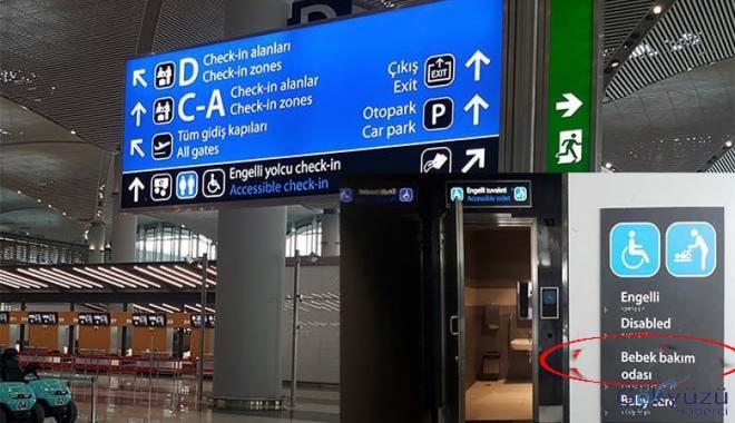 İstanbul Havalimanı'nda bebeği tuvalette emzirdi!