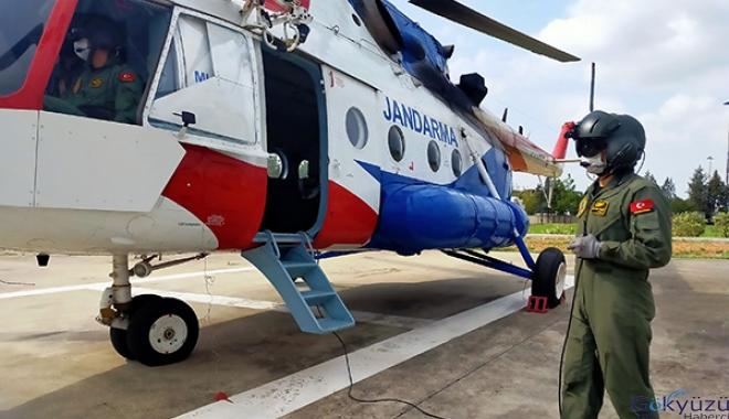 Jandarma helikopterle havadan denetim yapıldı(video)