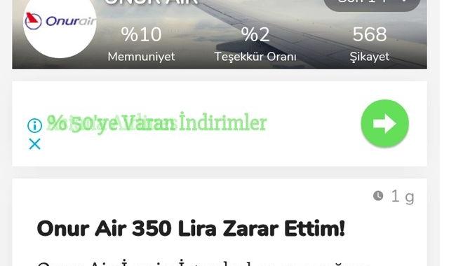 Onur Air yolcuya 350 TL zarar ettirdi!