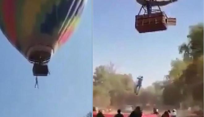Sıcak hava balon turundaki korku dolu anlar (video)
