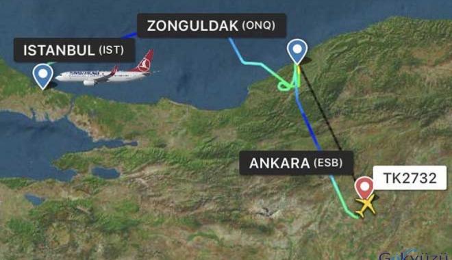 THY Zonguldak uçağı Ankara'ya indi!