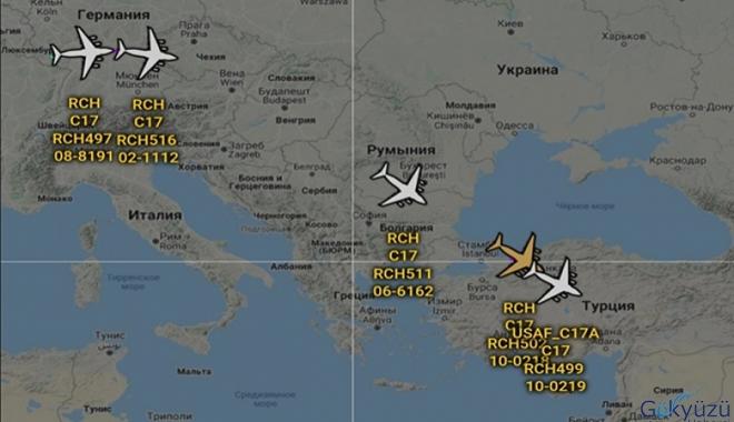 Türkiye'ye doğru gelen 5 tane amerikan C-17 nakliye uçağı.