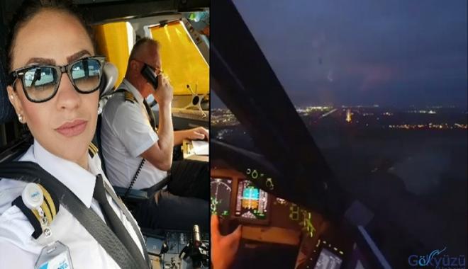 video Pilot Elif Güveyler bir B 777 inişinde!