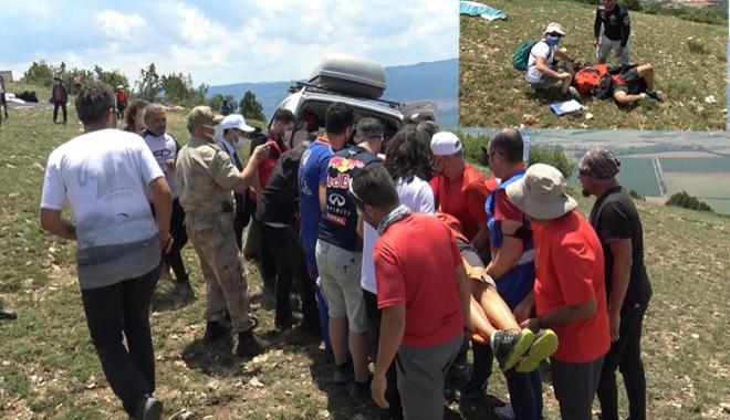 video#Yamaç paraşütçüsü havalanmadı yere çakıldı